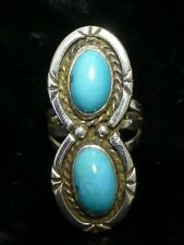 Large Southwest Sterling Silver Ring With Turquoise - Size 6.5