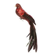 con Purpurina Pájaro Decoración Árbol Navidad Con Largo Cola 35cm BURDEOS