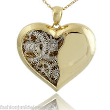 Ticking Clock Gears Heart Necklace - Gold 925 Sterling Silver Steampunk Love NEW