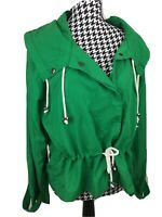 Urban Outfitters Women's Size L Green Snap Front Lightweight Nylon Hooded Jacket