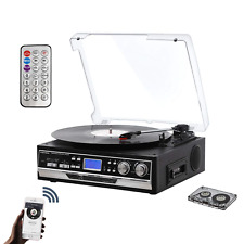 Bluetooth Record Player for Vinyl with 2 Built in Speakers, Turntable with PLL