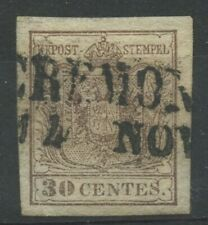 Lombardo Veneto 30 centesimi I tipo - annullo CREMONA
