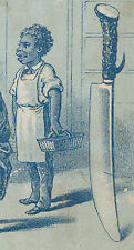 1880's SAPOLIO SOAP TRADE CARD,TO  CLEAN KNIVES, BLACK  GENTLEMAN WORKER  A355