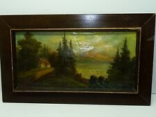 Antique/Vintage Russian Signed Painting Oil/C, Landscape On a Lake, 28 x 59 cm