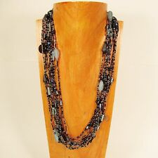 "25"" Multi Strand Blue Black Color Handmade Seed Mixed Bead Statement Necklace"