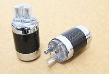 1 Set Carbon Copper Rhodium Plated US AC Power Plug Male Female