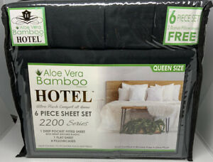 Queen Sheet Set Bamboo Hotel Brand Deep Pocket Ultra Soft Wrinkle Free Black