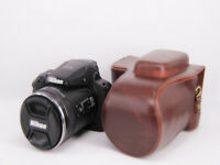 Coffee leather case bag for Nikon Coolpix P900 digital camera (P900s) dark brown