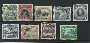 COOK ISLANDS  1944 - 46  S G 137 - 145  SET OF 9  TO 3/-   MH  CAT £120