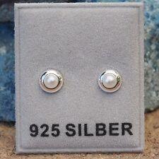 NEU 925 Silber 5,6mm OHRSTECKER mit 3mm PERLEN in weiß OHRRINGE