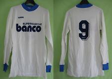 Maillot Supermarche Banco Blanc et bleu porté #9 Duarig Vintage - 4 x 5 / S