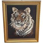 Vintage Original Artwork Framed Embroidered Tiger Face Head Portrait Tapestry