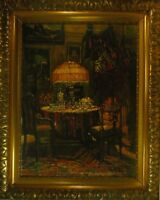"""Gerhard von Haniel """"Salon eines Kunstsammlers"""" Ölgemälde, impressionistisch"""