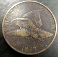1857  Flying Eagle Cent Penny FS-901 S-8 Clash With Seated Liberty Quarter Rev