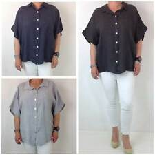 Hip Length Linen Short Sleeve Casual Tops & Shirts for Women