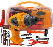Children Kids Battery Power Drill Toy Tool Set Box DIY Builders Building Constru