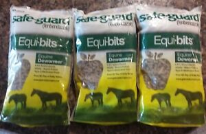 3 Safeguard Dewormer Equibits Pellets for Horses, 1.25-Pound each