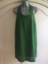 ZARA Ladies Green Broderie Anglaise Cowl Neck Summer Dress Size M Festival/Boho