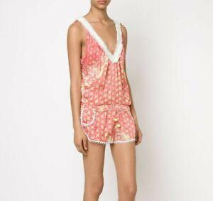 POUPETTE ST BARTH SILK BELINE FLORAL V-Neck Shorts Romper Coral Pink Lime 0/XS