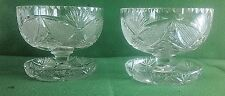 2 Beautiful EAPG Sherbert–Ice Cream Dishes with Saucer Bases, Maker Unknown