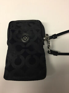 Coach Black Nylon Wristlet Case