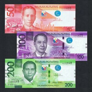 SET 2020 PHILIPPINES 50 100 200 PISO P-NEW UNC> > >COLORFUL W/NEW BLIND MARK NR