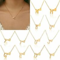 Fashion 26 Capital Letter Heart Pendant Necklace Choker Gold Clavicle Chain Gift