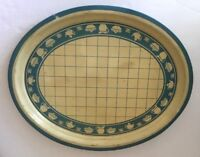 """Tole Toleware Tin Oval Serving Tray 18""""x14"""" Painted Dining Theme"""