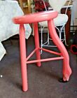 """VT Vermont Sled Co Painted Stool PINK FLAMINGO ~ 24""""H  Pickup  Norwalk CT  06850"""