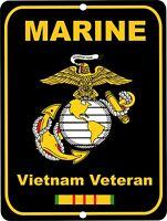 United States Marine Corps VIETNAM Veteran Retro Military Aluminum Sign 9x12