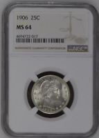:1906-P 25C Key-Date Barber-Quarter-Dollar NGC Select-MS-64 Low-Pop High-Grade