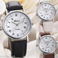 UK Fashion Women Roman Watch Lady Leather Band Analog Quartz Wrist Watch