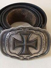 Levi's Men's Black Leather Belt With Maltese Cross Buckle Xl 42-44  #11LV026GV