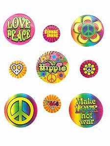 9 Flower Power Hippie Anstecker Buttons Love Peace Blumen 60er 70er Jahre 70s