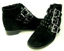 TOPSHOP Black Krown Suede Leather Studded Belted Flat Ankle Boot 8/41 $109.00
