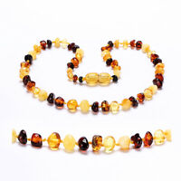 Genuine Baltic Amber Necklace Beads Knotted 14-35CM, 10 Colors