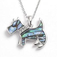"""TOC Paua Shell & Glass Scottie Dog Pendant Necklace 16""""+2"""" Extender"""