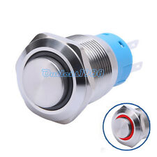 19mm Red LED Angel Eye 12V Momentary Push Button Switch 1NO1NC High Round Cap