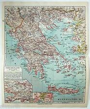 Original 1924 German Map of Greece by Meyers