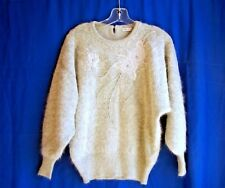 """Vareuse of Toyko gray sweater flowers, pearl beads & rhinstones sz. L, 40"""" chest"""