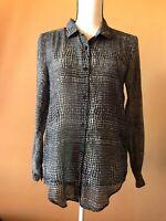 The Kooples Black Cotton Silk Snake Print Button Down Blouse Shirt Top Size XS