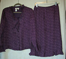 Coldwater Creek Polyester Lined Silk Skirt Set, Size 6