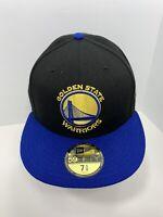 """New Era NBA 59FIFTY Black 7 5/8"""" Fitted Flat Bill Cap Golden State Warriors!"""