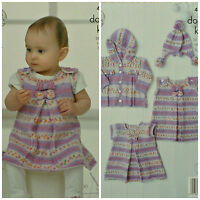 KNITTING PATTERN Baby's Bows Pinafore Dress Hooded Jacket &Pom-Pom Hat DK 4311