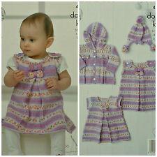 Knitting pattern BABY'S FIOCCHI Pinafore dress Giacca Con Cappuccio & Pom-pom CAPPELLO DK 4311