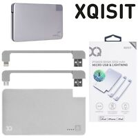 Xqisit 3000mAh Power Bank with Lightning and Micro USB Cable Silver