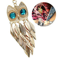 Women Alloy Gold Leaves Owl Style Pendant Necklace Long Sweater Chain Jewelry