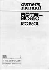 Rotel RTC-850 Tuner Owners Manual