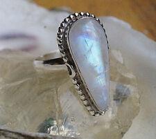 Silberring 58 Handarbeit Lang 2,6 cm Mondstein Tropfen Ring Silber Kugel Muster