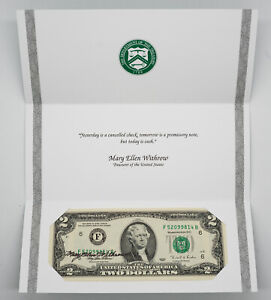 1995 $2 FRN COURTESY AUTOGRAPH NOTE PAMPHLET MARY ELLEN WITHROW US TREASURER